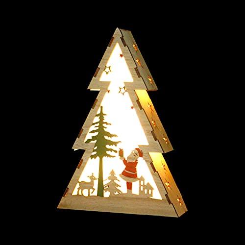 Adornos navideños,1 pieza Luz de noche de Navidad Forma de árbol de Navidad de madera Luz de noche Luces decorativas de...