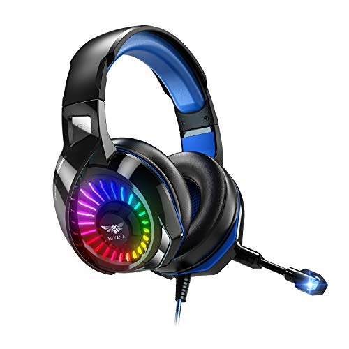 Nivava K7 Pro Gaming Headset for PS4, PS5, PC, Xbox One Headset with Noise Cancelling Microphone, Colorful Marquee Light & Soft Earmuffs, Compatible with Nintendo Switch, Mac, Computer, Laptop