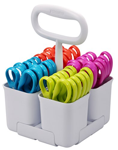 Stanley Removable 4 Cup Scissor Caddy and Minnow  5-Inch Pointed Tip Kids Scissors, 24 Pack (SCICAD-PT24)