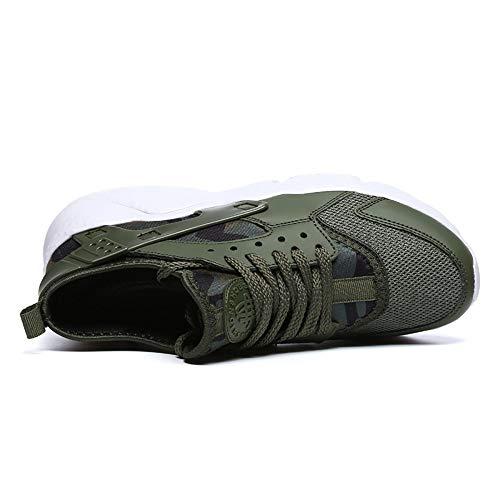 Zapatos de Hombre Ligeros Zapatos Bajos para Correr Mallas Transpirables voladores Tejidos Zapatos Deportivos Casuales Hombres ejército Verde 42