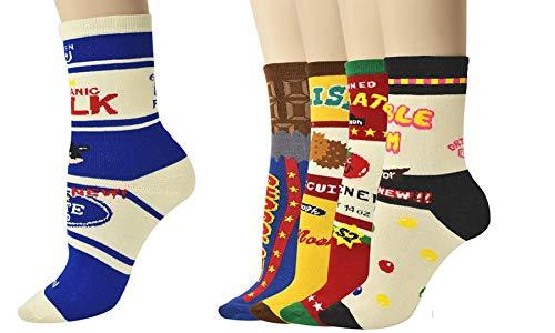 Vinsani® Novelty Print Sokken 5 paar Pack - Multi Design Onesize Past op alle katoenen sokken met Bubble Gum, Ingeblikte Tomaat, Biscuit, Chocolade & Organische Melk Print