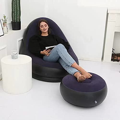 CMY Inflatable Lazy Sofa, Family Lounge Chair with Inflatable Foot Cushion, Outdoor Folding Sofa, Suitable for Home Rest or Office Rest (Navy)