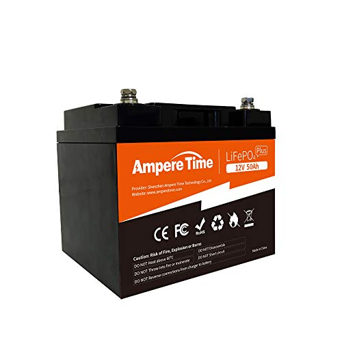 Ampere Time 12V 50Ah Lithium Iron Phosphate LiFePO4 Battery, Built-in 50A BMS, 4000+ Cycles, 100amp...