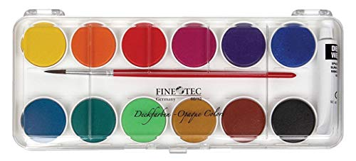 Finetec Opaque Watercolor Paint, Assorted Opaque Colors