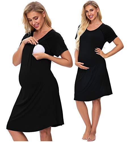 SWOMOG 3 in 1 Delivery/Labor/Nursing Nightgown Women's Maternity Hospital Gown/Sleepwear for Breastfeeding Black