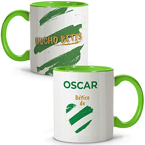 LolaPix Taza Betis. Tazas Personalizadas con Nombre. Taza Desayuno fútbol. Regalos Personalizados. Varios diseños.