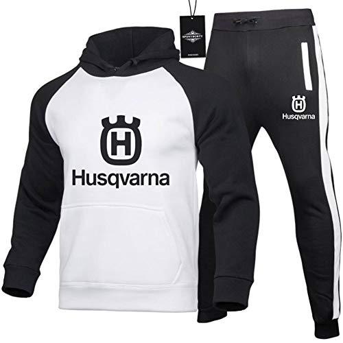 Jasmin Busse Hombres Chandal Conjunto Hooded Suéter Pantalones Husqvarna Unisexo Largo Manga Hoodies Ropa de Deporte Adecuado por Hombres Mujer Y/Blanco negro/L