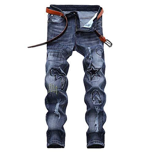 Vaqueros para Hombres Pantalones de Estiramiento de Color sólido con diseño de Personalidad de Color sólido Europeo y Americano Pantalones Delgados de Gran tamaño