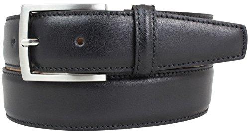 Hochwertiger Anzuggürtel aus Vollrindleder 3,5 cm | Bombierter Ledergürtel Herren 35mm Made in Italy | Business-Gürtel | Schwarz 110cm