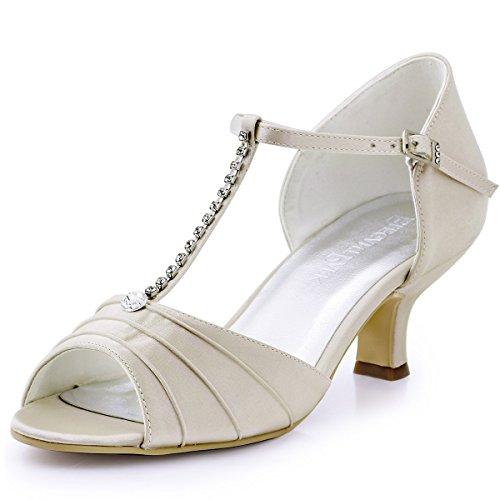 ElegantPark EL-035 Mujer Sandalias Punta Abierta Tacón Bajo Rhinestones Satin Zapatos de Fiesta Champán EU 42