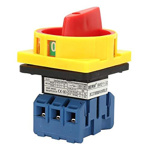 Interruptor de circuito de carga estable de 440 V, 3 polos, 2 posiciones, interruptor selector de potencia de encendido y apagado para productos químicos, textiles(32A)