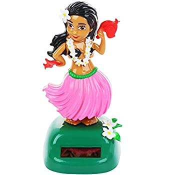 Faruxue Solar Powered Hawaiian Dance Figure Girl Car Dashboard Lovely Toy with Solar Panel Shaking Head Doll Dancing Figure Toy Perfect for Car Home Office Bedroom Decor Best Gift