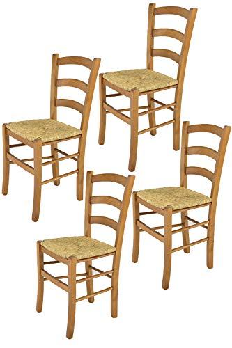 t m c s Tommychairs - Set 4 sillas Venice para Cocina y Comedor, Estructura en Madera de Haya Color Roble y Asiento en Paja