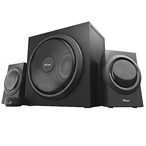 Trust Yuri 2.1 PC Lautsprecher mit Subwoofer, 120W Spitzenleistung, Subwoofer aus Holz mit einem Starken 5,25 Zoll-Basstreiber, Kabelgebundene Lautstärkeregelung mit Kopfhörer- und Line-In-Anschluss