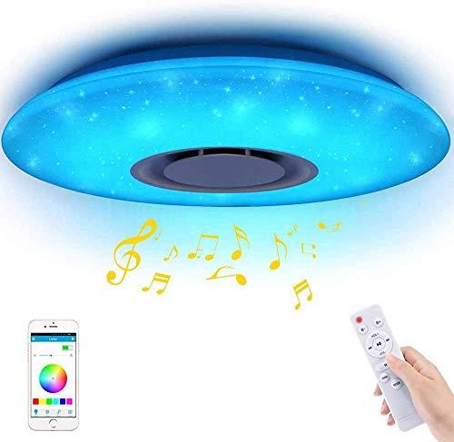 LED Smart Music Deckenleuchte, SUNJULY 36W Moderne Deckenleuchten Mit Bluetooth Lautsprecher Und Fernbedienung RGB Dimmbar 185-265v Ultradünn Energiesparend Für Wohnzimmer, Küche, Schlafzimmer(36cm)