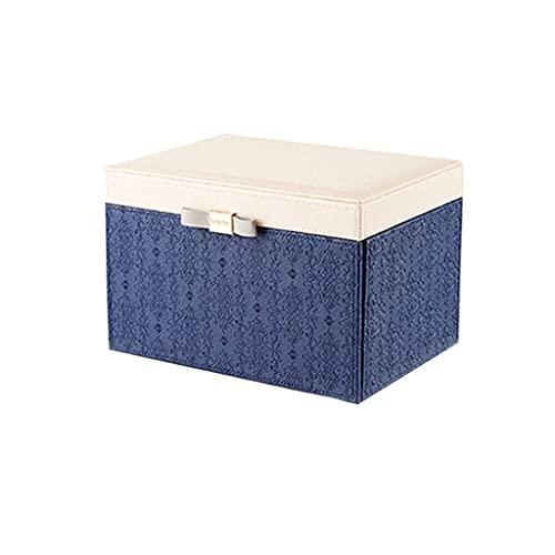ROEWP PU Caja de Organizador de joyería de Cuero, 25 * 17.5 * 18 cm Joyero de Gran Capacidad Europeo con un Espejo, Cajas de Almacenamiento de Varios Pisos (Color : Blue)