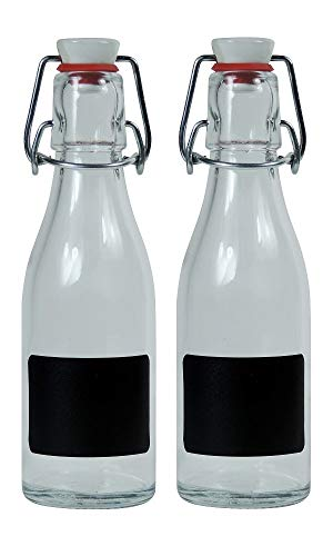Viva Haushaltswaren - 2 x kleine Glasflasche 200 ml leer mit Bügelverschluss aus Porzellan zum Befüllen, als transparente Saftflasche und Ölflasche verwendbar (inkl. 2 Beschriftungsetiketten)