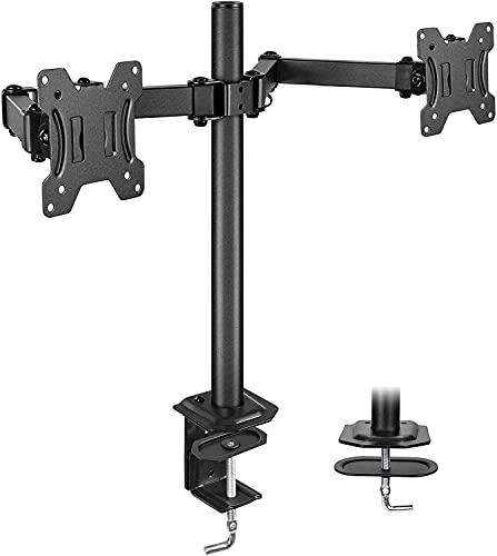 HUANUO Dual Monitor Stand for 13-27 inch Screens, Heavy Duty Fully Adjustable Monitor Desk Mount, VESA Mount with C Clamp, Each Arm Holds 4.4 to 17.6lbs
