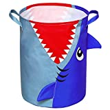 Basumee laundry basket Shark Toys Storage Bin Round Collapsible Nursery Laundry Hamper for Kids Bedroom Playroom Clothes Storage, Blue
