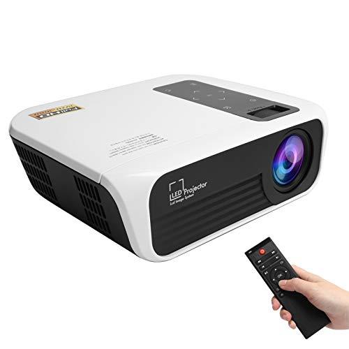 Proyector doméstico, Full HD 1080P Smart LED Home Media Video Player Teatro, Cinemood, Ver películas en TV, en casa Dormitorio Oficina al Aire Libre, para teléfonos móviles, tabletas(Blanco + Negro)