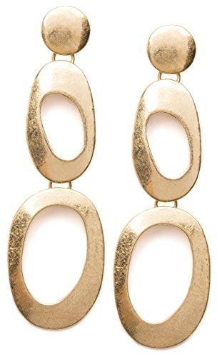 Happiness Boutique Damen Statement Ohrringe Abstrakte Doppel Creolen in Goldfarbe | Auffällige Lange Ohrringe nickelfrei