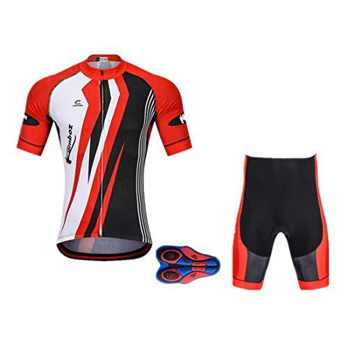 GWELL Herren Radtrikot Atmungsaktive Fahrradbekleidung Set Trikot Kurzarm + Shorts mit Sitzpolster für Radsport Rot XXXL