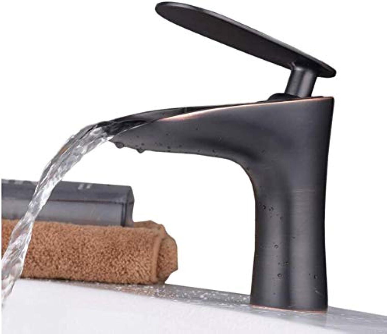 Verchromte Einstellbare Temperaturempfindliche Led-Wasserhahngeriebener Bronze-Wasserfall-Monobassin-Mischbatterie