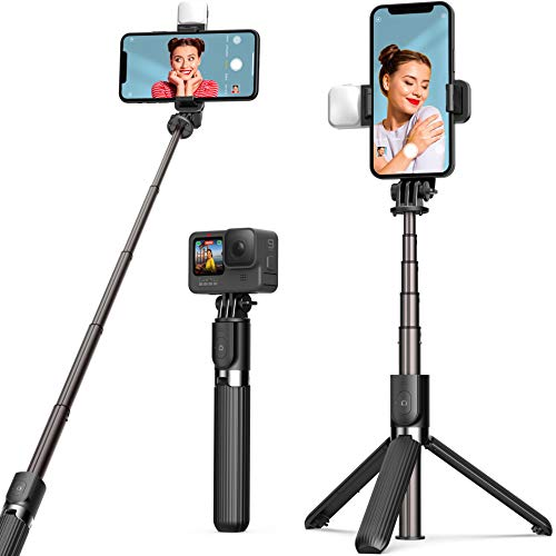Selfie Stick Tripod with Fill Light ARTOFUL Phone Tripod Stand with Wireless Remote Control & 360°Rotation Compatible with iPhone12pro/12/12mini 11pro/11/XR XS/XS Max, Android, Gopro, Small Camera