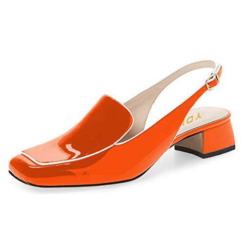 YDN Women Closed Square Toe Block Low Heels Slingback Formal Loafer Shoes Office Lady Pumps Orange 8.5