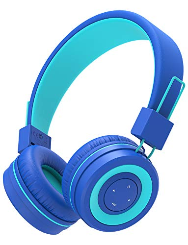 iClever BTH02 Kids Headphones, Kids Wireless Headphones with MIC, 22H Playtime, Bluetooth 5.0 & Stereo Sound, Foldable, Adjustable Headband, Childrens Headphones for iPad Tablet Home School, Blue