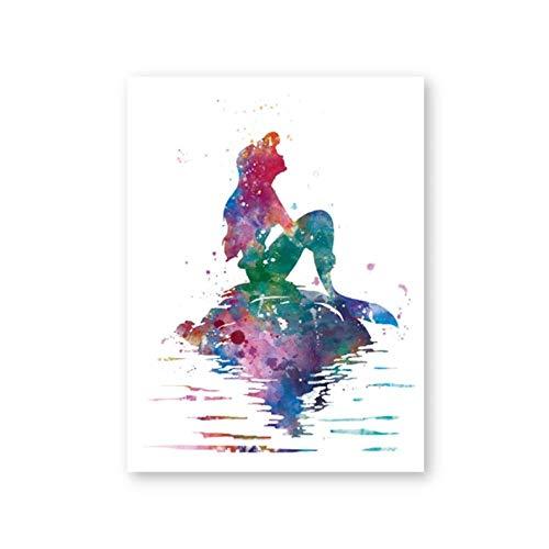 NR Lámina Ariel Sirenita Acuarela Poster Nursery Wall Art Picture Lienzo Pintura Niñas Habitación Decoración de la Pared (40x60cm Sin Marco)