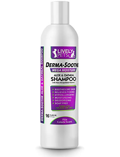 Lively Pets Derma-Soothe Mega Moisturizing Aloe and Oatmeal Shampoo for Dogs; Soap Free Hypo-Allergenic Dog Shampoo - for Dogs and Cats with Dry, Itchy, Skin and Allergies - Pina Colada Scented