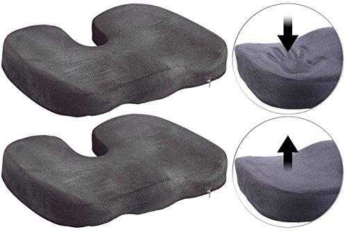 Lescars Autositzauflagen: 2er-Set Memory-Foam-Sitzkissen für bequemes Sitzen im Auto, Büro & Co. (Foam Kissen)