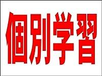 シンプル看板 「個別学習(赤)」<スクール・塾・教室> Mサイズ 屋外可(約H60cmxW45cm)