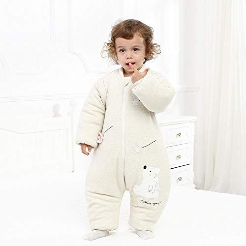 Unisex baby-inbakerdekens, pasgeboren pyjama's voor kinderen, kleurrijke katoenen verwijderbare mouwen om schoppen te voorkomen-Lichtgroene beer Lengte 85 cm, Pasgeboren dikke slaapzak voor baby's