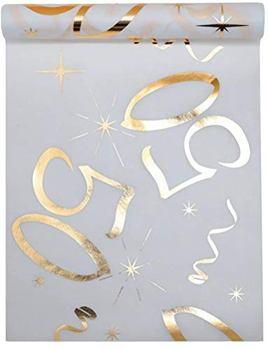 Camino de mesa blanco de oro 50años 30cm x 5m plástico Banner Mantel Mesa decorativa de banda