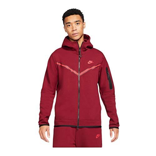 Nike Tech - Sudadera con capucha (forro polar, talla L), color rojo