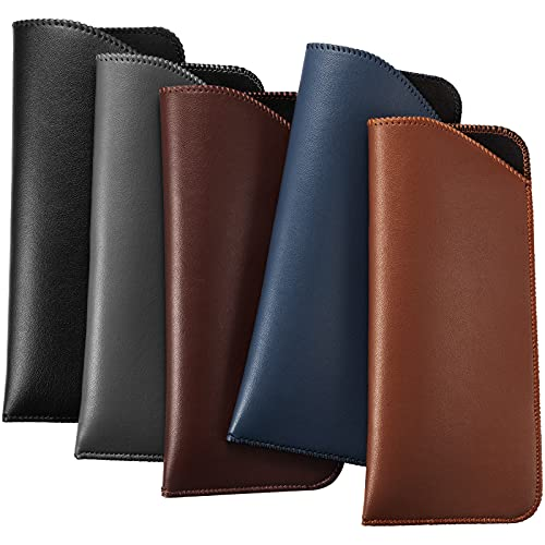 5 Pieces Slip In Eyeglass Pouch Artificial Leather Slim Travel Sunglasses Case Holder Leather Eyewear Sleeve (Classic Colors)
