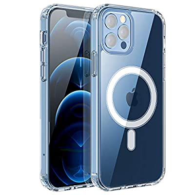RESTONE Clear Magnetic Case for iPhone 12/12 Pro 6.1 with Mag-Safe Charging, Slim Fit Hard Back Soft Silicone TPU Bumper Cover, Thin Cute Shockproof Anti-Yellow Protective Case for i-Phone 12 Pro 6.1