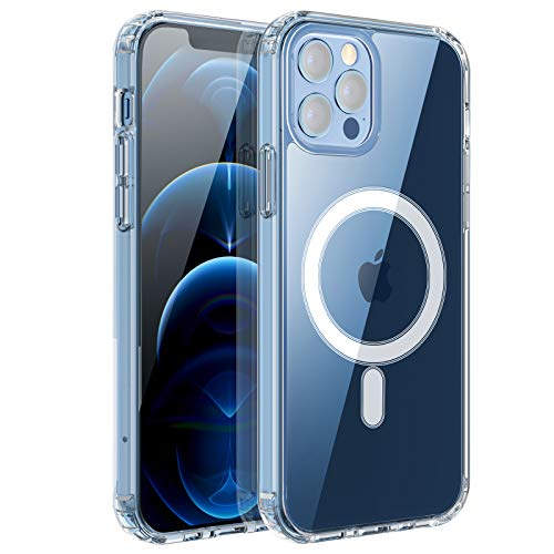 RESTONE Clear Magnetic Case for iPhone 12 Pro Max with Mag-Safe Charging, Slim Fit Hard Back Soft Silicone TPU Bumper Cover, Thin Cute Shockproof Anti-Yellow Protective Case for i-Phone 12 Promax 6.7