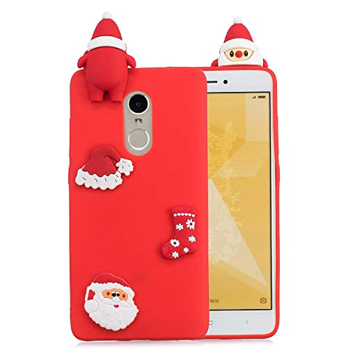 LAXIN Christmas Hat for Redmi Note 4x Global,Soft 3D Silicone Case,Cute Plant Rubber Cover,Cartoon Gel Cases for Girls Kids.Fun Unique Sweet Character Skin Protector Shell for Xiaomi Redmi Note 4