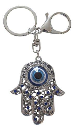 Taschenschmuck, Schlüsselanhänger, Hand der Fatima, Fatima, Auge, versilberter Stahl und blauer Strass
