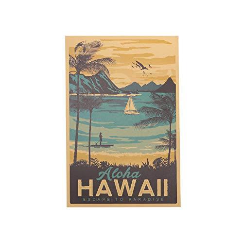 Lxtmgzgf Hawaii Berühmte Tourist Landschaftsmalerei Kraftpapier Bar Poster Vintage Dekorative Malerei Wandaufkleber 51X34 Cm