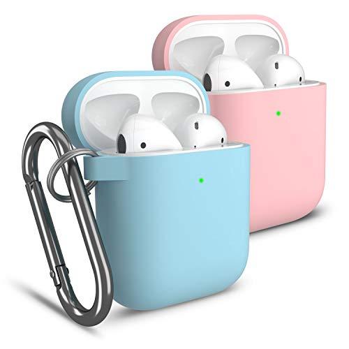 Cuauco 2 Pack Hülle Silikon AirPods Case Kompatibel mit Apple AirPods 1&2(Front-LED Sichtbar) mit Karabiner,mit 30-teiliges Reinigungskit(Beinhaltet Weiche Bürste,Tupfer)(Rosa+Himmel Blau)