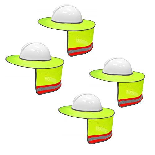 4 Pack Mesh Neck Sun Shade Hard Hat Sun Shield- Full Brim Sun Visor with Reflective Strips - Neon Yellow