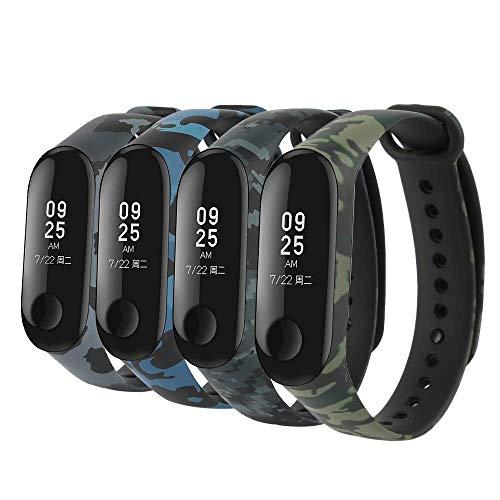 Kit 4 pulseiras para mi band 3 ou 4 (camufladas verde, azul, cinza/pixel)