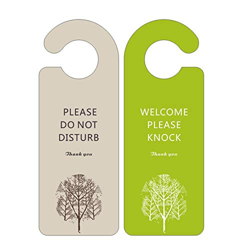 Do Not Disturb Door Hanger Sign, Please Do Not Disturb Door Knob Sign for Meeting in Session, Office, Home, Clinic, Therapists, Hotel, Health Care,2 Pack (Grey and Green)