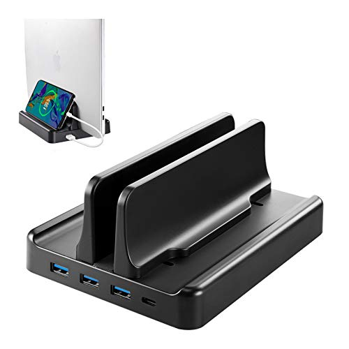 Vaydeer Vertical Laptop Stand 22.5 W Fast Charging 3xUSB 3.0 Ports with HUB Function for iOS, HP, Microsoft Surface, Up to 17.3 inches (Black)