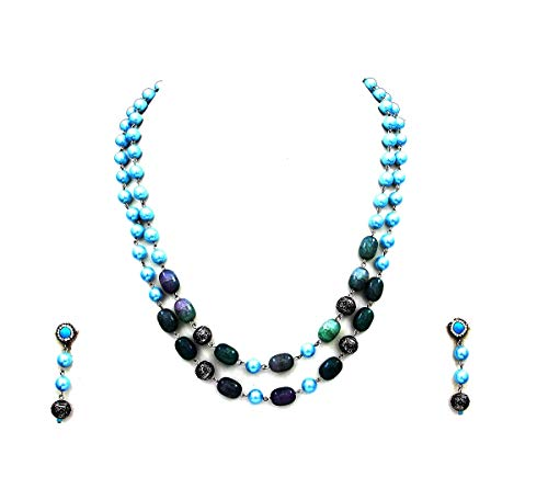 JewelryGift Two Strand Beaded Stone Style Chain Necklace with Earrings Blue Onyx Jasper Gold Plated Ethnic Designer Fashion Jewellery for Women, Girls and Ladies
