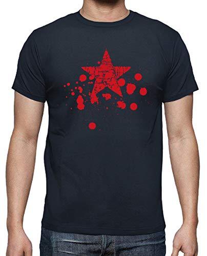latostadora - Camiseta Estrella Roja para Hombre Azul Marino M